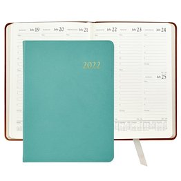 Graphic Image Graphic Image 2022 Goatskin Leather DDV Desk Diary - Robin's Egg Blue