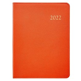Graphic Image Graphic Image 2022 Goatskin Leather DDV Desk Diary - Orange