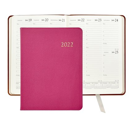 Graphic Image Graphic Image 2022 Goatskin Leather DDV Desk Diary - Pink