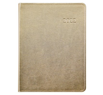 Graphic Image Graphic Image 2022 Metallics Leather DDV Desk Diary - White Gold