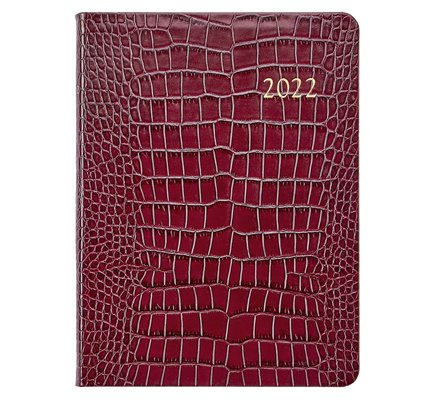 Graphic Image Graphic Image 2022 Embossed Crocodile Leather DDV Desk Diary - Ruby