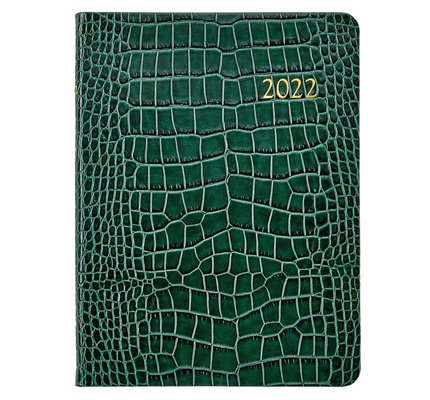 Graphic Image Graphic Image 2022 Embossed Crocodile Leather DDV Desk Diary - Emerald