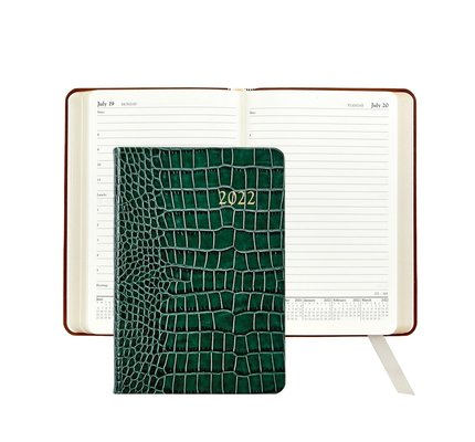 Graphic Image Graphic Image 2022 Embossed Crocodile Leather AJL Daily Journal - Emerald
