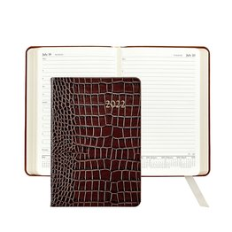 Graphic Image Graphic Image 2022 Embossed Crocodile Leather AJL Daily Journal - Brown