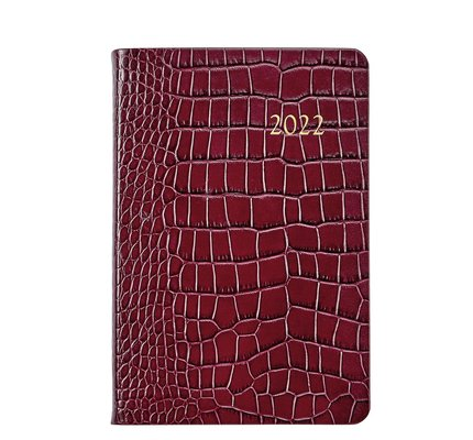 Graphic Image Graphic Image 2022 Embossed Crocodile Leather AJL Daily Journal - Ruby