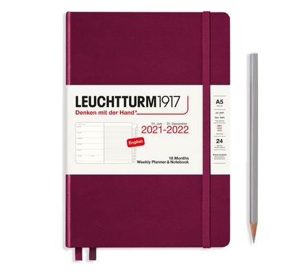 Leuchtturm1917 Leuchtturm1917 2021-2022 Medium (A5) Hardcover 18-Month Weekly Planner and Notebook with Extra Booklet