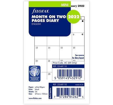 Filofax Filofax 2022 Month on Two Pages Mini Planner Refill