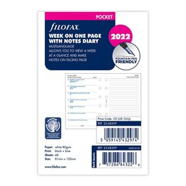 Filofax Filofax 2022 Week on a Page With Notes Pocket Planner Refill