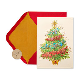 Papyrus Glittered Christmas Tree with Ornaments Boxed Holiday Cards
