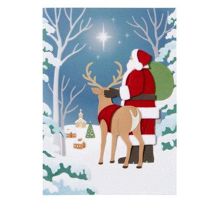 NIQUEA.D NIQUEA.D  Santa and Reindeer Looking at Star Christmas Card