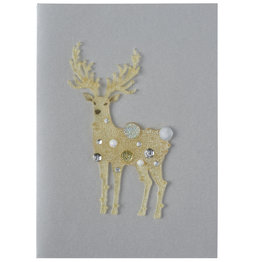 NIQUEA.D NIQUEA.D Fanciful Reindeer on Silver Holiday Card