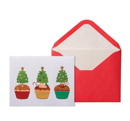 NIQUEA.D NIQUEA.D Three Tree Cupcakes Christmas Card