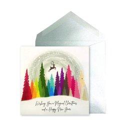 NIQUEA.D NIQUEA.D Rainbow Trees with Reindeer Holiday Card