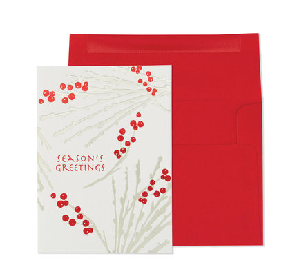 NIQUEA.D NIQUEA.D Silver Boughs with Red Berries Holiday Card