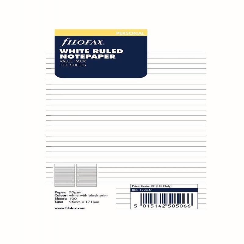 Filofax Filofax B133047 Personal Size Ruled White Paper