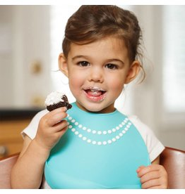 MAKE MY DAY Tiffany Blue with Pearls Silicone Baby Bib