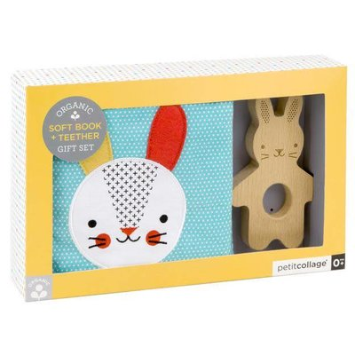 PETIT COLLAGE Soft Bunny Book with Wooden Teether