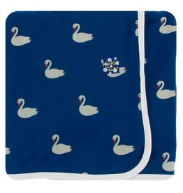 KICKEE PANTS Navy Queen's Swans Swaddling Blanket