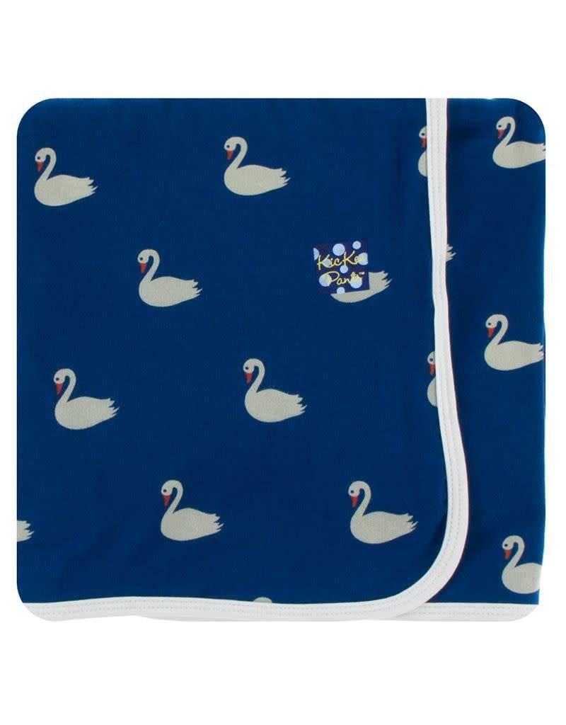 KICKEE PANTS Navy Queen's Swans Swaddling Blanket