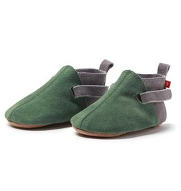 ZUTANO Green Suede Color Block Baby Shoe