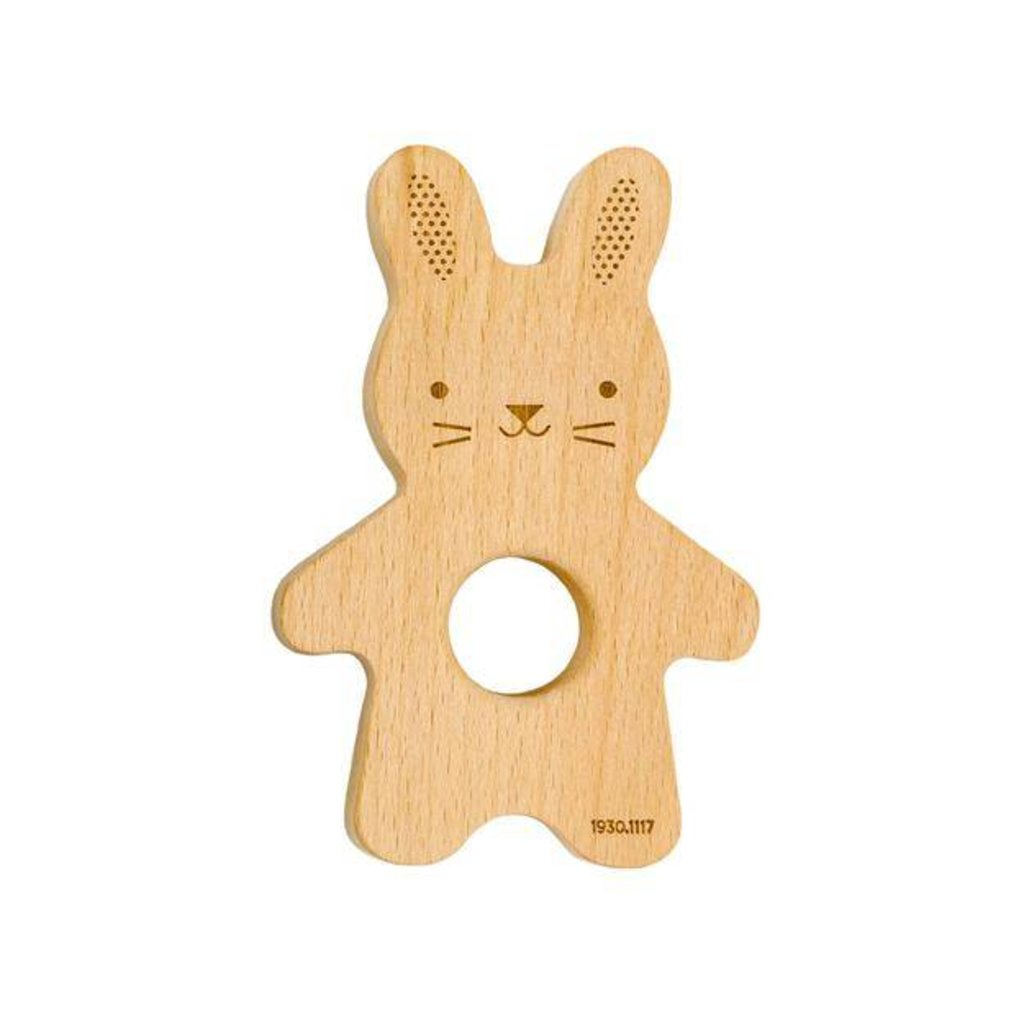 PETIT COLLAGE Petit Collage Soft Bunny Book with Wooden Teether