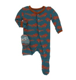 KICKEE PANTS Oasis Octopus Footie with Snaps