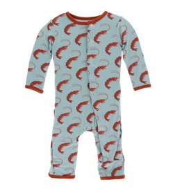 KICKEE PANTS Jade Shrimp Coverall with Snaps