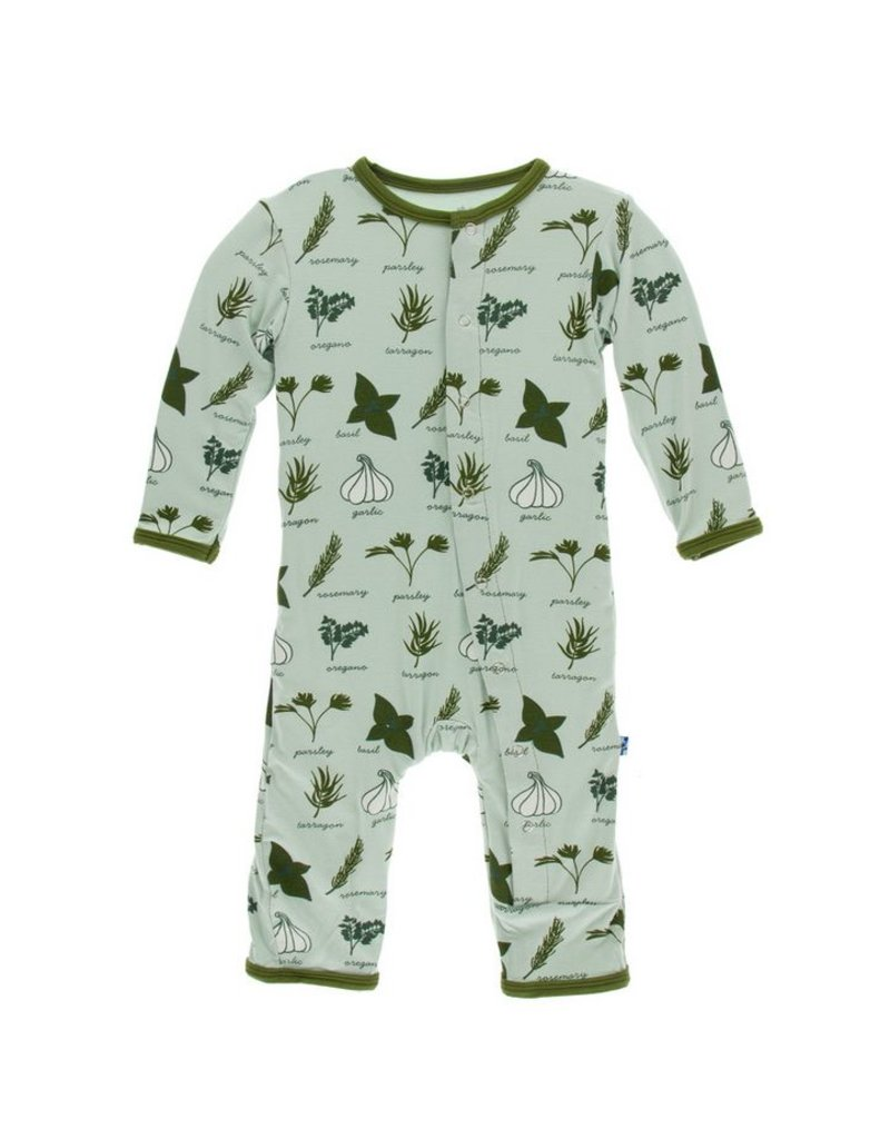 KICKEE PANTS Aloe Herbs Coverall with Snaps