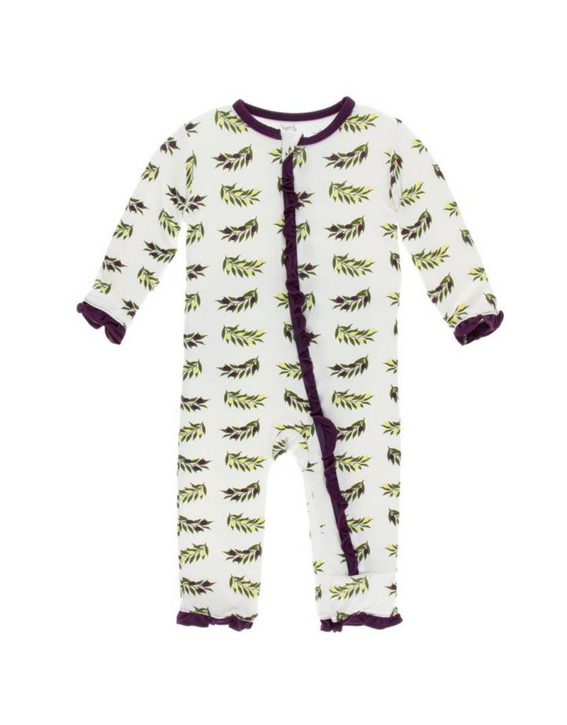 KICKEE PANTS Natural Olive Branch Layette Ruffle Coverall w/ Zipper