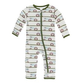 KICKEE PANTS Natural Tractor and Grass Coverall with Zipper