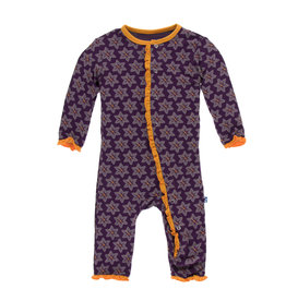 KICKEE PANTS Wine Grapes Saffron Layette Ruffle Coverall w/ Snaps