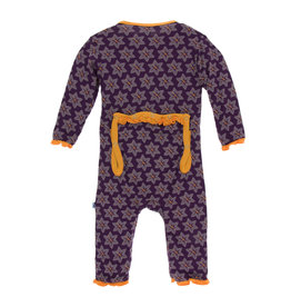 KICKEE PANTS Wine Grapes Saffron Muffin Ruffle Coverall w/ Snaps