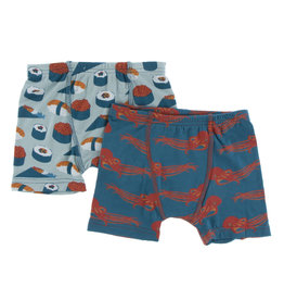 KICKEE PANTS Kickee Pants Boxer Briefs Set of 2 - Jade Sushi/Oasis Octopus