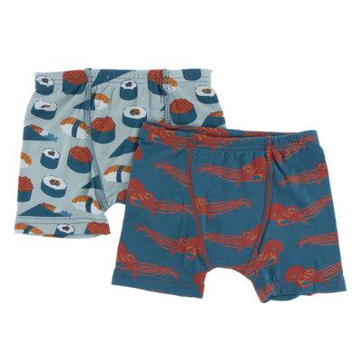KICKEE PANTS Kickee Pants Boxer Briefs Set of 2 - Jade Sushi/Oasis Octopus