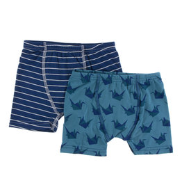 KICKEE PANTS Kickee Pants Boxer Briefs Set of 2 - Tokyo Navy Stripe/Seagrass Origami Crane