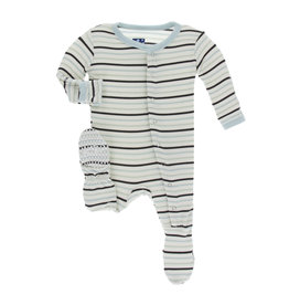 KICKEE PANTS Tuscan Afternoon Stripe Footie with Snaps