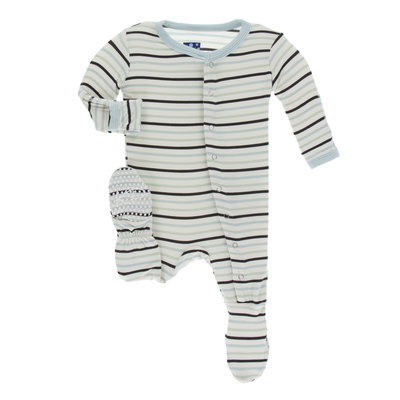 KICKEE PANTS Kickee Pants Tuscan Afternoon Stripe Footie with Snaps