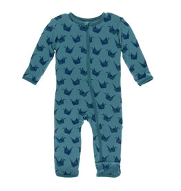 KICKEE PANTS Seagrass Origami Crane Coverall with Zipper
