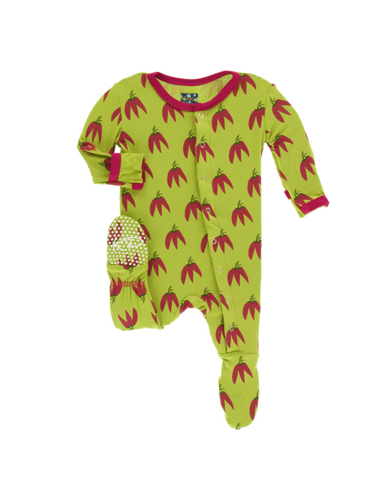 KICKEE PANTS Meadow Chili Peppers Footie with Snaps