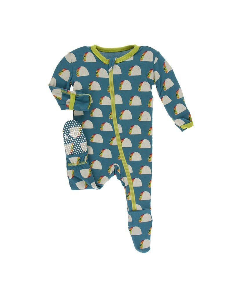KICKEE PANTS Seagrass Tacos Footie with Zipper