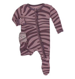 KICKEE PANTS Elderberry Zebra Print Muffin Ruffle Footie w/ Zipper