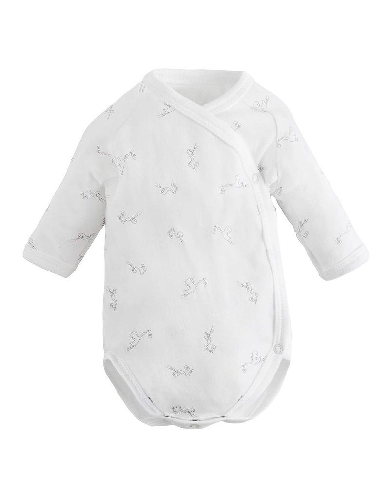 UNDER THE NILE Stork Print L/S Snap Bodysuit