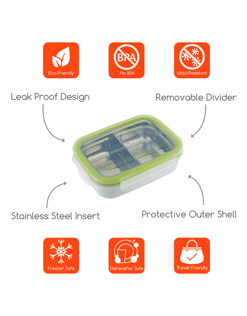 INNOBABY Keepin' Fresh Stainless 11oz Divided Bento/Green