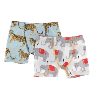 KICKEE PANTS Boxer Briefs Set - Spring Sky Tiger/Natural Indian Elephant