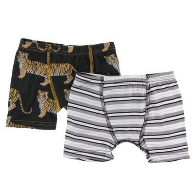 KICKEE PANTS Boxer Briefs Set - Zebra Tiger/India Pure Stripe