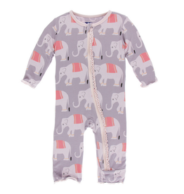 KICKEE PANTS Feather Indian Elephant Muffin Ruffle Coverall w/ Zipper