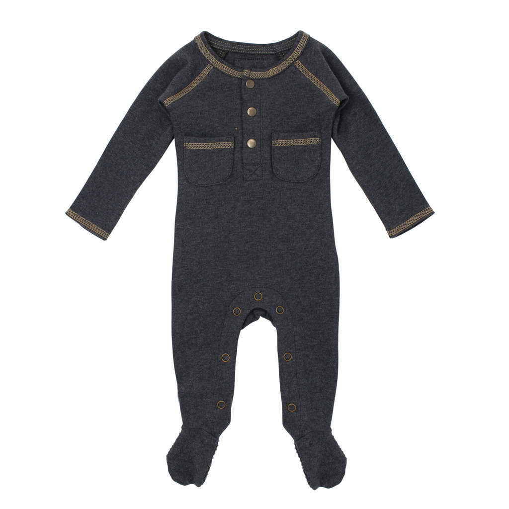 L'OVED BABY L'oved Baby Organic Pocket Footed Overall-Heather/Honey