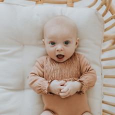 L'OVED BABY L'oved Baby Organic Smocked Bodysuit-Nutmeg