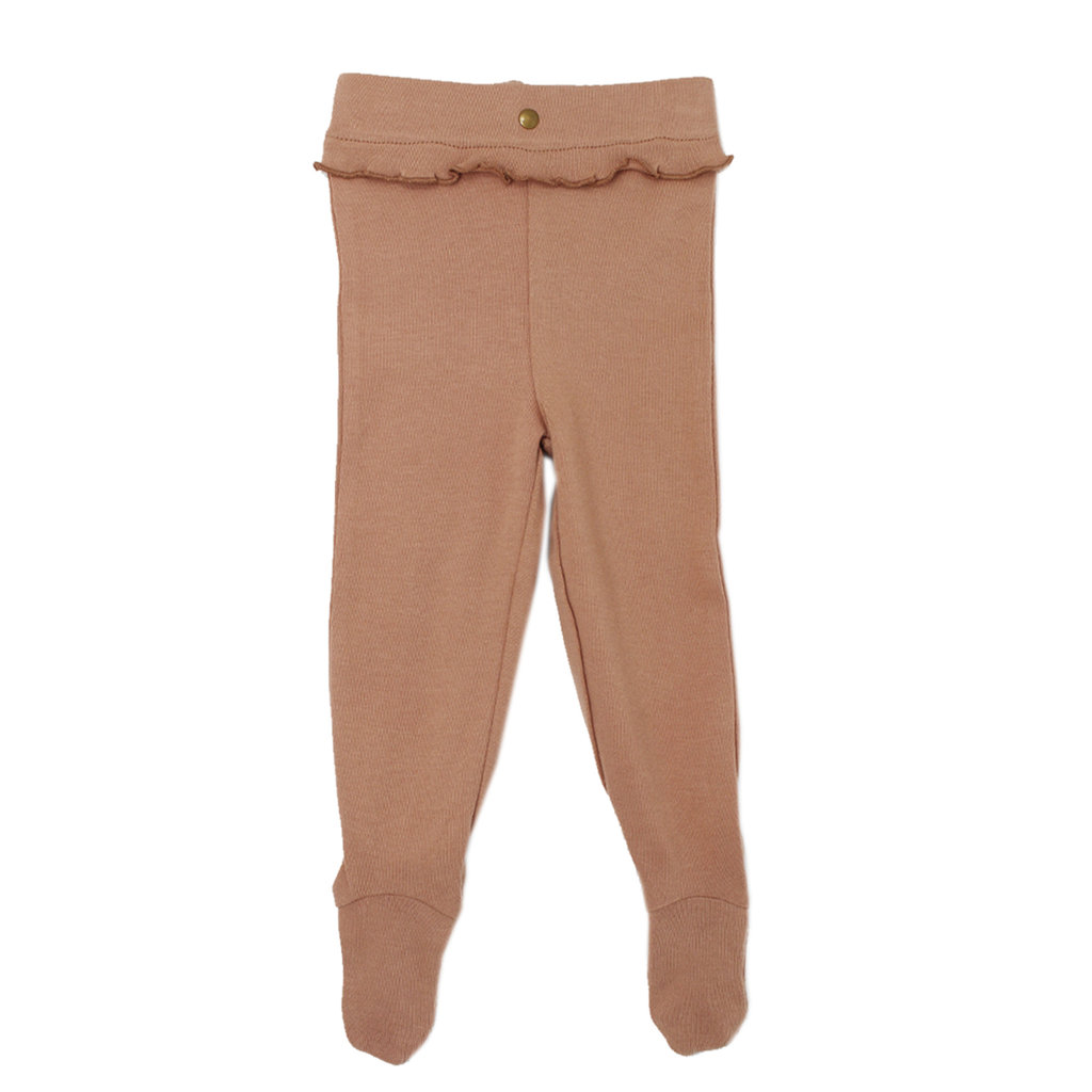 L'OVED BABY L'oved Baby Organic Ruffle Footed Legging-Nutmeg