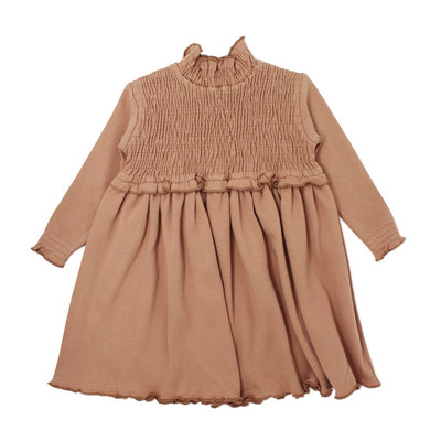 L'OVED BABY L'oved Baby Organic Smocked Dress-Nutmeg